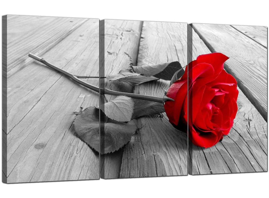 Set of Three Floral Canvas Prints Rose 3005