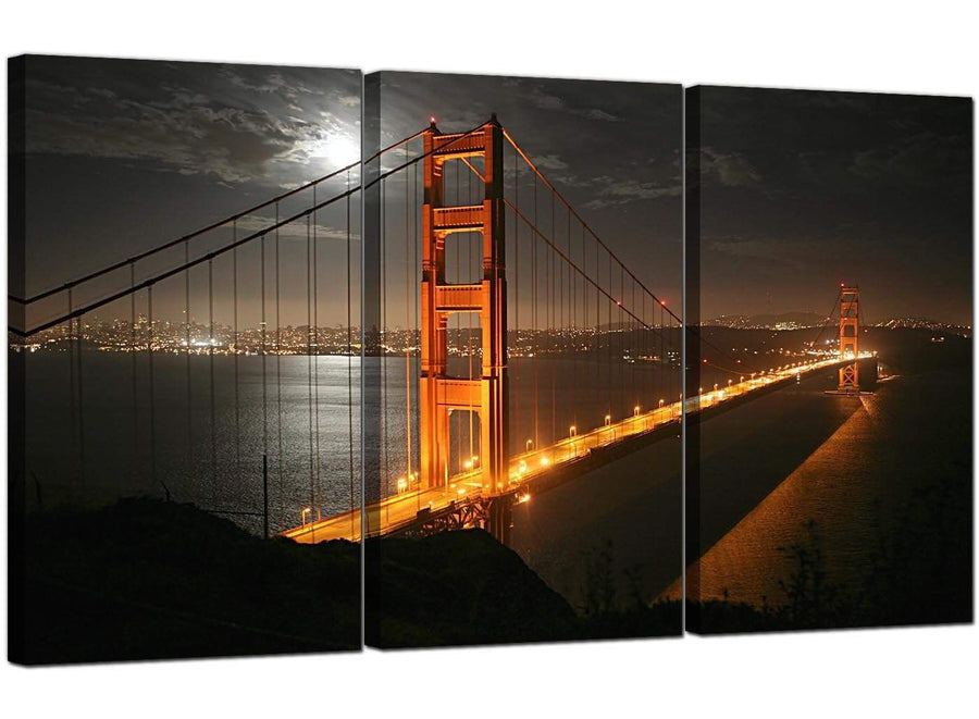 Set of 3 Cityscape Canvas Wall Art Golden Gate Bridge United States 3038