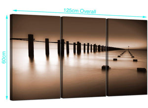 Set of 3 Sea Canvas Pictures 125cm x 60cm 3088