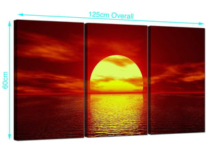 Set of Three Seascape Canvas Prints UK 125cm x 60cm 3001