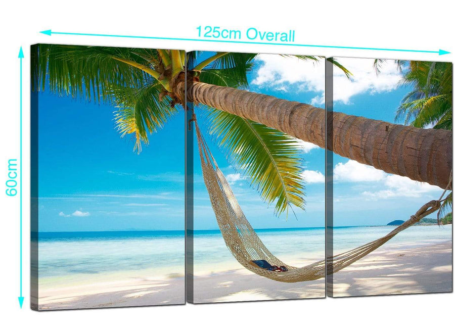 3 Panel Caribbean Beach Canvas Art 125cm x 60cm 3039