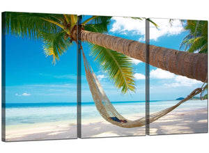 3 Panel Seascape Canvas Prints Palm Tree 3039