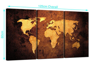 3 Part Vintage Map Canvas Prints UK 125cm x 60cm 3188