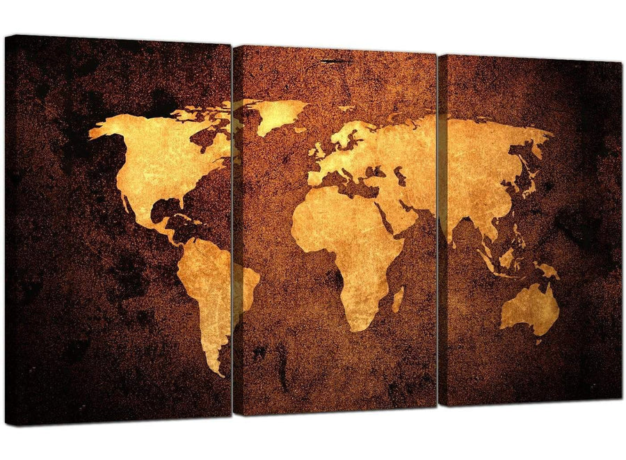 3 Panel Canvas Prints UK Vintage Map 3188