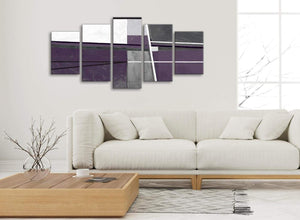 Set of 5 Panel Aubergine Grey Painting Abstract Dining Room Canvas Wall Art Decor - 5392 - 160cm XL Set Artwork