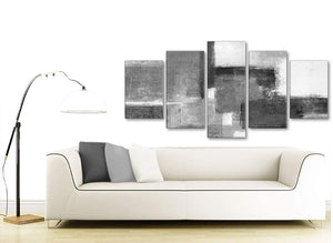Set of 5 Part Black White Grey Abstract Living Room Canvas Pictures Decorations - 5368 - 160cm XL Set Artwork