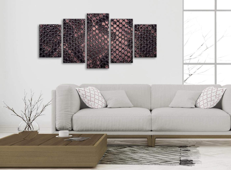 Set of 5 Panel Blush Pink Snakeskin Animal Print Abstract Bedroom Canvas Pictures Decor - 5473 - 160cm XL Set Artwork