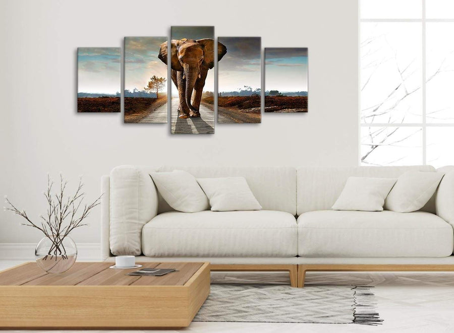 Set of 5 Piece Canvas Wall Art Pictures - Modern Elephant Landscape - 5209 - 160cm XL Set Artwork