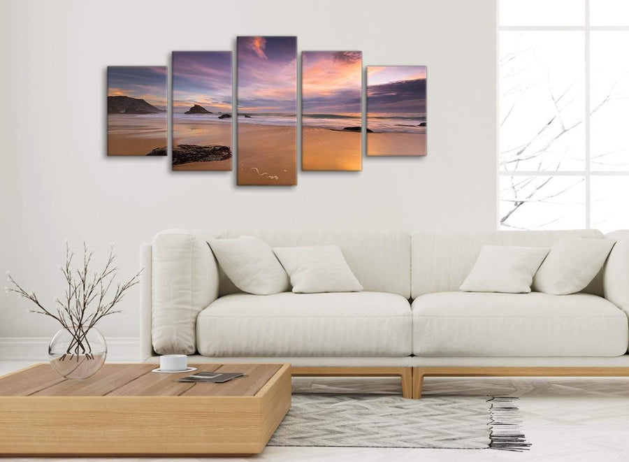 Set of 5 Panel Canvas Wall Art Pictures - Panoramic Landscape Beach Sunset - 5198 - 160cm XL Set Artwork