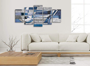 Set of 5 Part Indigo Blue White Painting Abstract Office Canvas Pictures Decor - 5404 - 160cm XL Set Artwork
