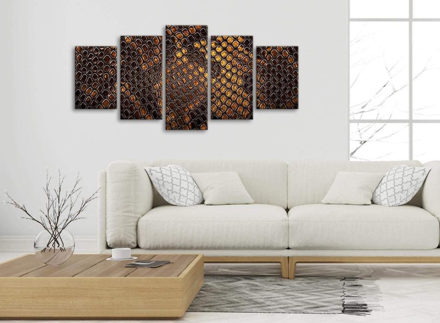 Set of 5 Panel Mustard Gold Snakeskin Animal Print Abstract Bedroom Canvas Wall Art Decor - 5474 - 160cm XL Set Artwork