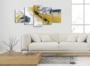 Set of 5 Piece Mustard Yellow and Blue Swirl Abstract Bedroom Canvas Wall Art Decor - 5469 - 160cm XL Set Artwork