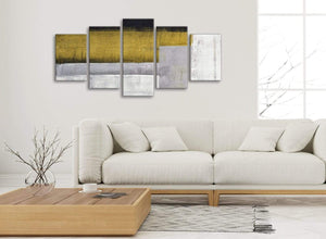 Set of 5 Piece Mustard Yellow Grey Painting Abstract Office Canvas Pictures Decorations - 5425 - 160cm XL Set Artwork