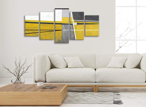 Set of 5 Piece Mustard Yellow Grey Painting Abstract Bedroom Canvas Wall Art Decor - 5388 - 160cm XL Set Artwork