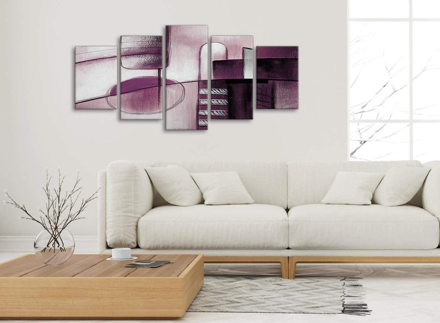 Set of 5 Panel Plum Grey Painting Abstract Living Room Canvas Wall Art Decor - 5420 - 160cm XL Set Artwork