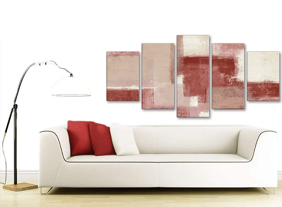 Set of 5 Piece Red and Cream Abstract Dining Room Canvas Pictures Decorations - 5370 - 160cm XL Set Artwork