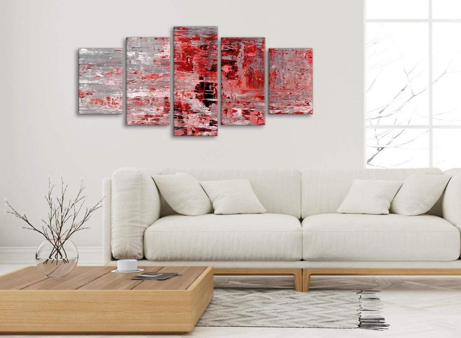 Set of 5 Panel Red Grey Painting Abstract Office Canvas Pictures Decor - 5414 - 160cm XL Set Artwork
