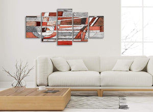 Set of 5 Piece Red Grey Painting Abstract Office Canvas Wall Art Decor - 5401 - 160cm XL Set Artwork