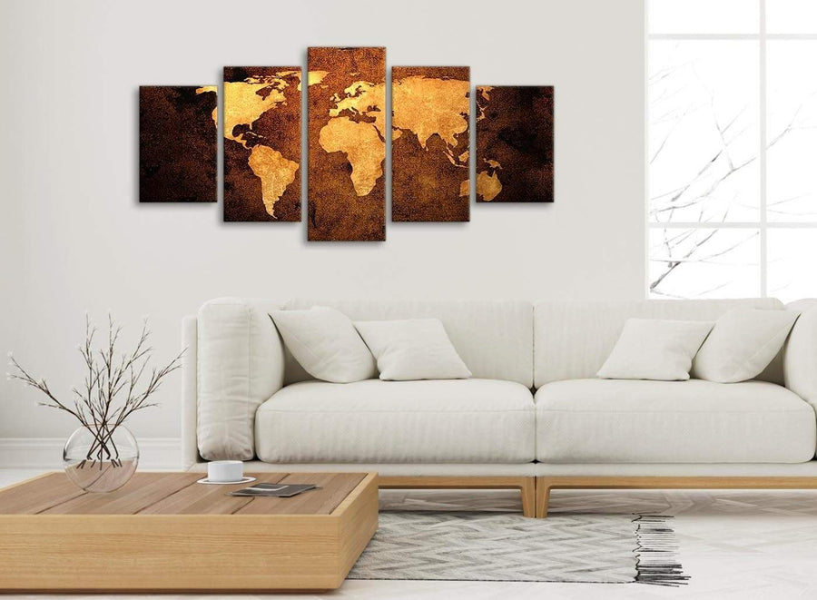 Set of 5 Piece Vintage Old World Map - Brown Cream Canvas - Abstract Bedroom Canvas Wall Art Decor - 5188 - 160cm XL Set Artwork