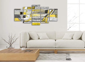 Set of 5 Panel Yellow Grey Painting Abstract Dining Room Canvas Wall Art Decorations - 5400 - 160cm XL Set Artwork