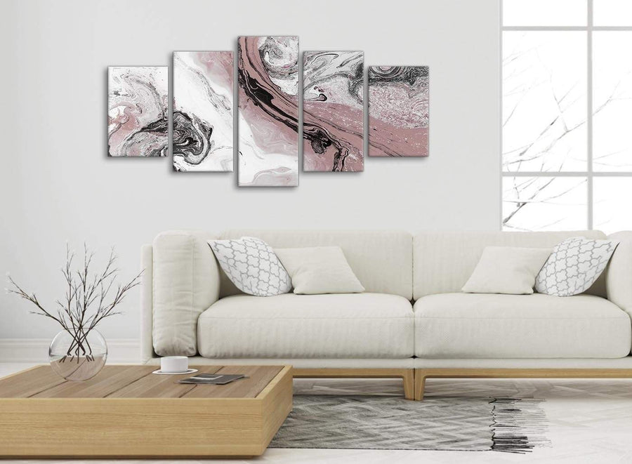 Set of 5 Panel Blush Pink and Grey Swirl Abstract Office Canvas Wall Art Decor - 5463 - 160cm XL Set Artwork