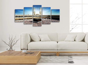Set of 5 Piece Canvas Wall Art Pictures - Islamic Canvas - Hajj Pilgrimage Kaaba - 5191 - 160cm XL Set Artwork