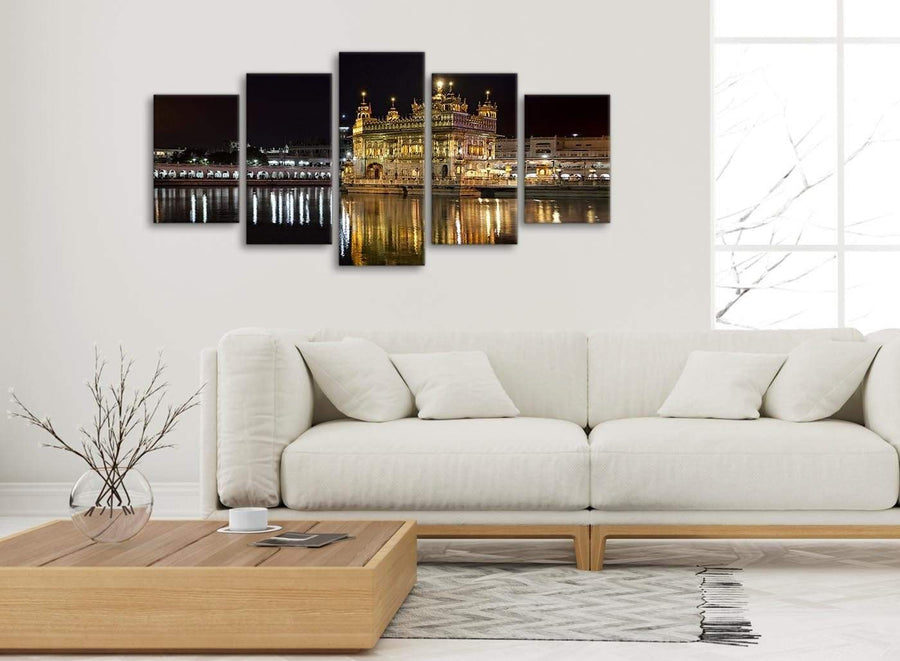 Set of 5 Piece Canvas Wall Art Pictures - Sikh Golden Temple Amritsar Night - Canvas - 5195 - 160cm XL Set Artwork