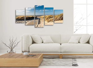 Set of 5 Piece Landscape Canvas Wall Art Prints - Pathway to the Ocean - 5197 - 160cm XL Set Artwork