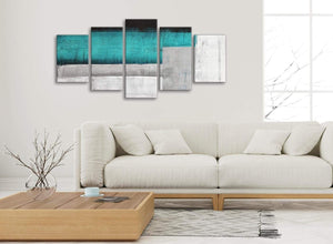 Set of 5 Piece Teal Turquoise Grey Painting Abstract Office Canvas Wall Art Decor - 5429 - 160cm XL Set Artwork