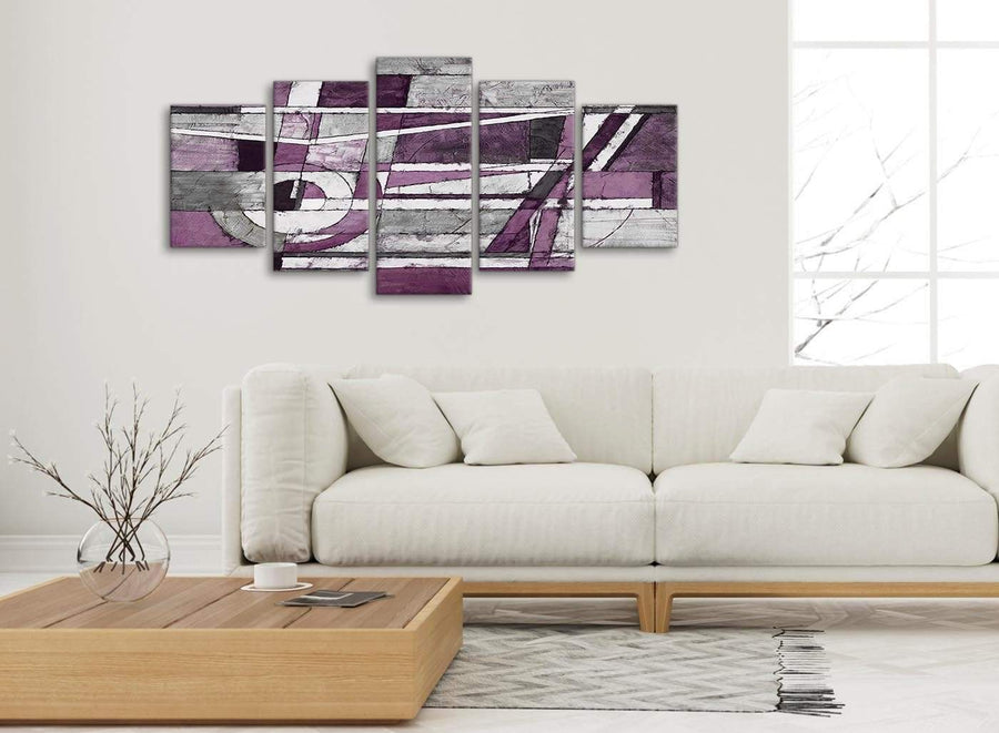 Set of 5 Piece Aubergine Grey White Painting Abstract Dining Room Canvas Pictures Decorations - 5406 - 160cm XL Set Artwork