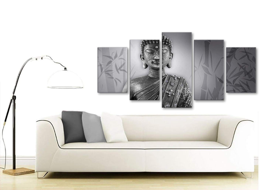 Set of 5 Panel Black White Buddha Office Canvas Wall Art Decor - 5373 - 160cm XL Set Artwork