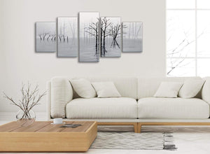 Set of 5 Piece Black White Grey Tree Landscape Painting Dining Room Canvas Pictures Decorations - 5416 - 160cm XL Set Artwork