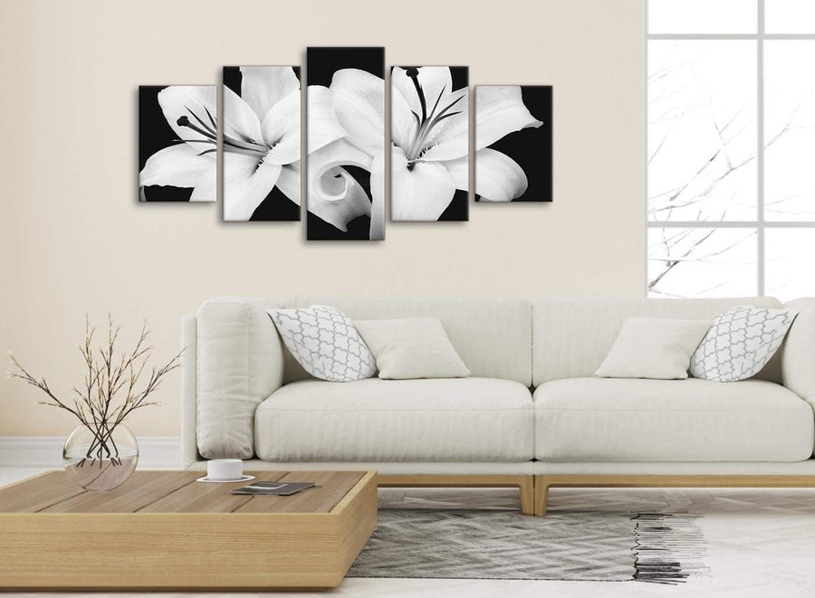 Set of 5 Piece Black White Lily Flower Dining Room Canvas Wall Art Decor - 5458 - 160cm XL Set Artwork
