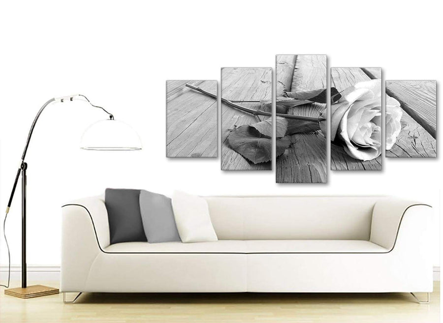 Set of 5 Piece Black White Rose Floral Dining Room Canvas Wall Art Decorations - 5372 - 160cm XL Set Artwork