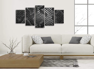 Set of 5 Panel Black White Snakeskin Animal Print Abstract Bedroom Canvas Pictures Decor - 5510 - 160cm XL Set Artwork