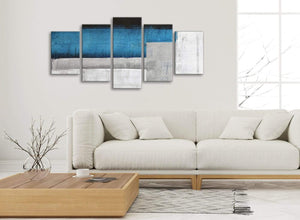 Set of 5 Panel Blue Grey Painting Abstract Living Room Canvas Wall Art Decor - 5423 - 160cm XL Set Artwork