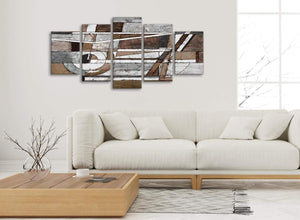 Set of 5 Part Brown Beige White Painting Abstract Office Canvas Pictures Decorations - 5407 - 160cm XL Set Artwork