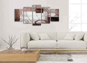 Set of 5 Panel Brown White Painting Abstract Office Canvas Pictures Decorations - 5422 - 160cm XL Set Artwork