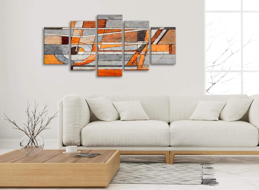 Set of 5 Panel Burnt Orange Grey Painting Abstract Living Room Canvas Pictures Decorations - 5405 - 160cm XL Set Artwork