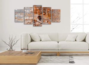Set of 5 Piece Burnt Orange Grey Painting Abstract Living Room Canvas Pictures Decor - 5415 - 160cm XL Set Artwork