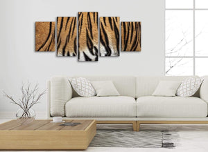 Set of 5 Part Canvas Wall Art Pictures - Tiger Animal Print - 5472 - 160cm XL Set Artwork