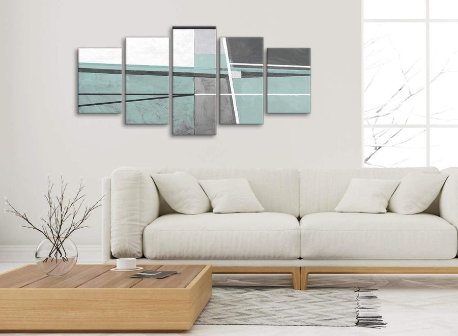 Set of 5 Piece Duck Egg Blue Grey Painting Abstract Dining Room Canvas Wall Art Decor - 5396 - 160cm XL Set Artwork