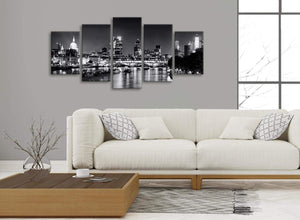 Set of 5 Piece Landscape Canvas Wall Art Prints - River Thames Skyline of London - 5430 Black White Grey - 160cm XL Set Artwork
