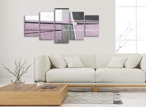 Set of 5 Piece Lilac Grey Painting Abstract Living Room Canvas Pictures Decor - 5395 - 160cm XL Set Artwork