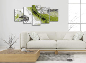 Set of 5 Panel Lime Green and Grey Swirl Abstract Dining Room Canvas Pictures Decor - 5464 - 160cm XL Set Artwork
