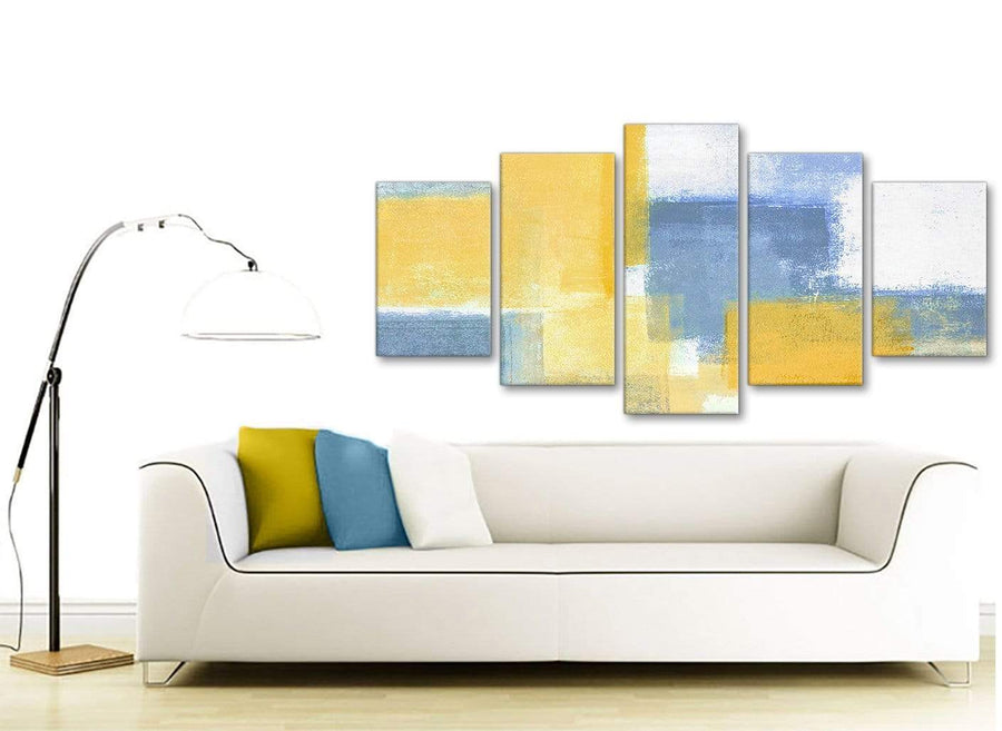 Set of 5 Panel Mustard Yellow Blue Abstract Dining Room Canvas Pictures Decor - 5371 - 160cm XL Set Artwork