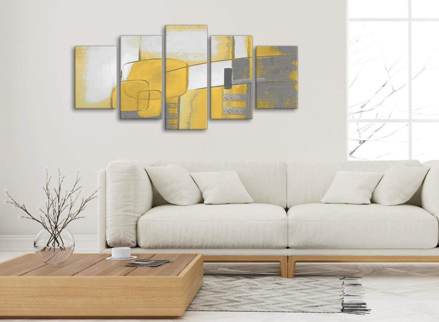 Set of 5 Panel Mustard Yellow Grey Painting Abstract Bedroom Canvas Pictures Decor - 5419 - 160cm XL Set Artwork