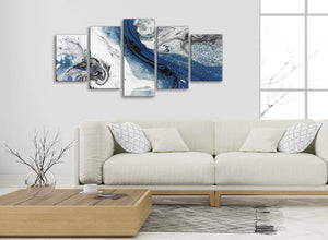 Set of 5 Piece Blue and Grey Swirl Abstract Office Canvas Wall Art Decor - 5465 - 160cm XL Set Artwork