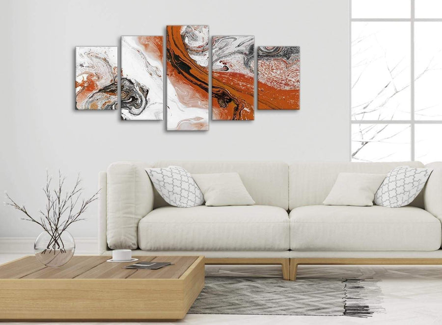 Set of 5 Panel Orange and Grey Swirl Abstract Office Canvas Pictures Decorations - 5461 - 160cm XL Set Artwork