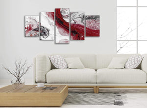 Set of 5 Piece Red and Grey Swirl Abstract Bedroom Canvas Wall Art Decor - 5467 - 160cm XL Set Artwork
